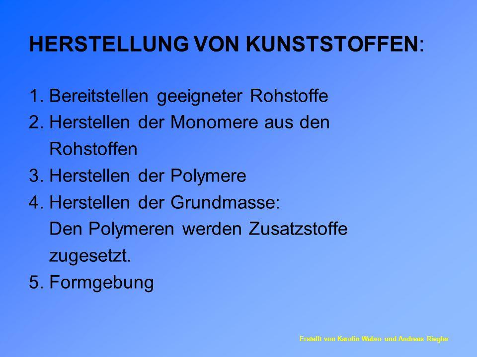 HERSTELLUNG VON KUNSTSTOFFEN: 1. Bereitstellen geeigneter Rohstoffe 2. Herstellen der Monomere aus den Rohstoffen 3. Herstellen der Polymere 4. Herste