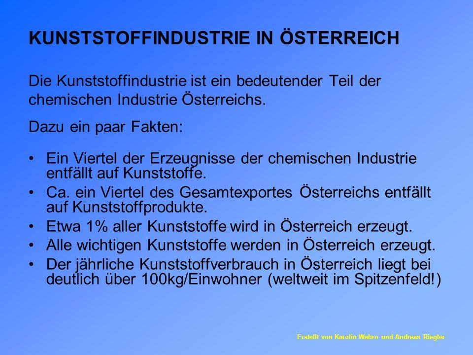 KUNSTSTOFFINDUSTRIE IN ÖSTERREICH Die Kunststoffindustrie ist ein bedeutender Teil der chemischen Industrie Österreichs. Dazu ein paar Fakten: Ein Vie
