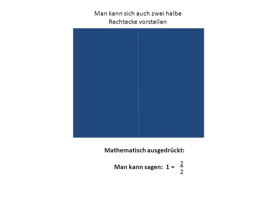 Man kann sich auch zwei halbe Rechtecke vorstellen Mathematisch ausgedrückt: Man kann sagen: 1 = 2222
