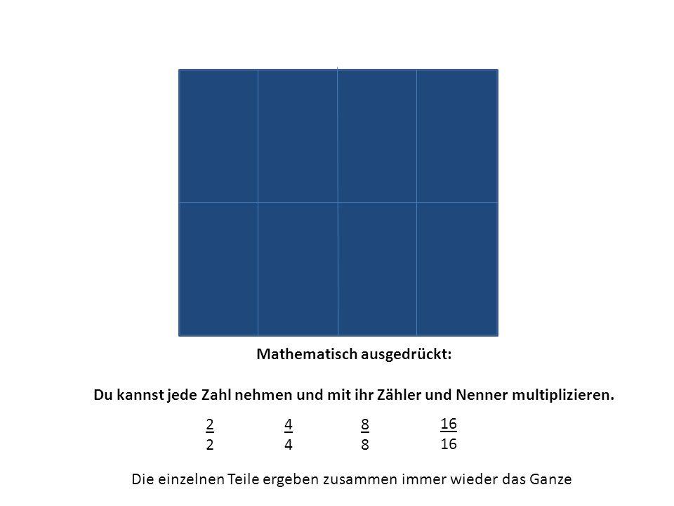 Mathematisch ausgedrückt: Du kannst jede Zahl nehmen und mit ihr Zähler und Nenner multiplizieren. 2222 4444 8888 16 Die einzelnen Teile ergeben zusam
