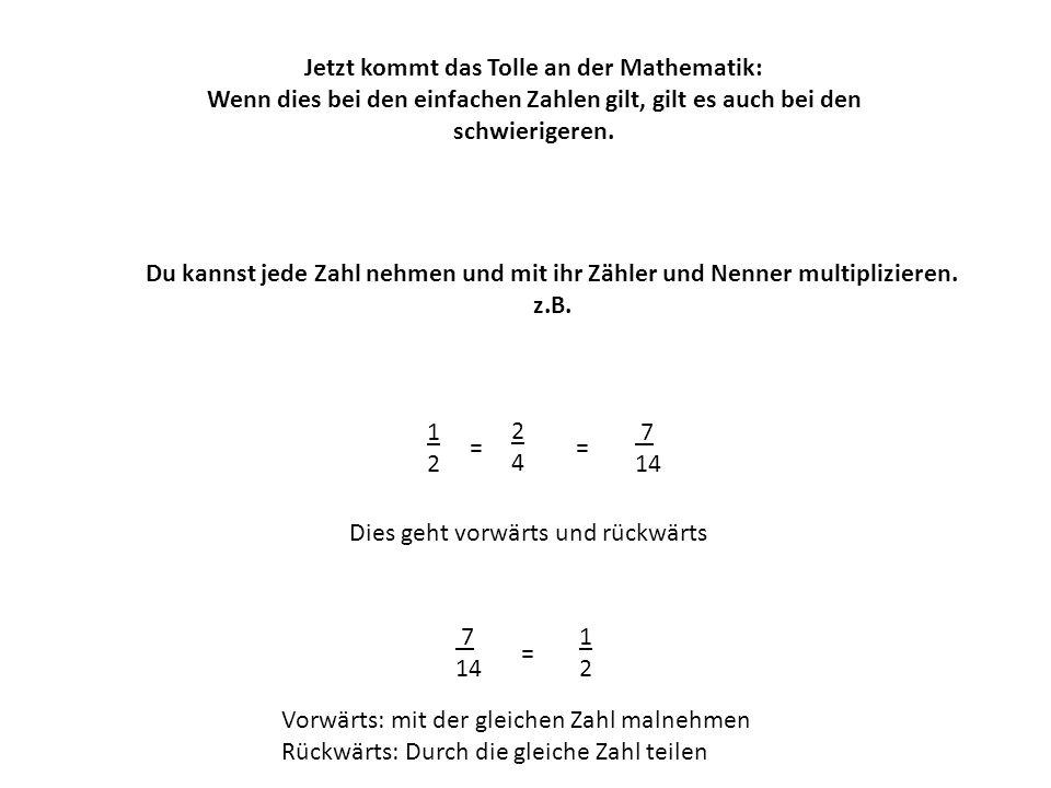 Du kannst jede Zahl nehmen und mit ihr Zähler und Nenner multiplizieren. z.B. 1212 Dies geht vorwärts und rückwärts Jetzt kommt das Tolle an der Mathe