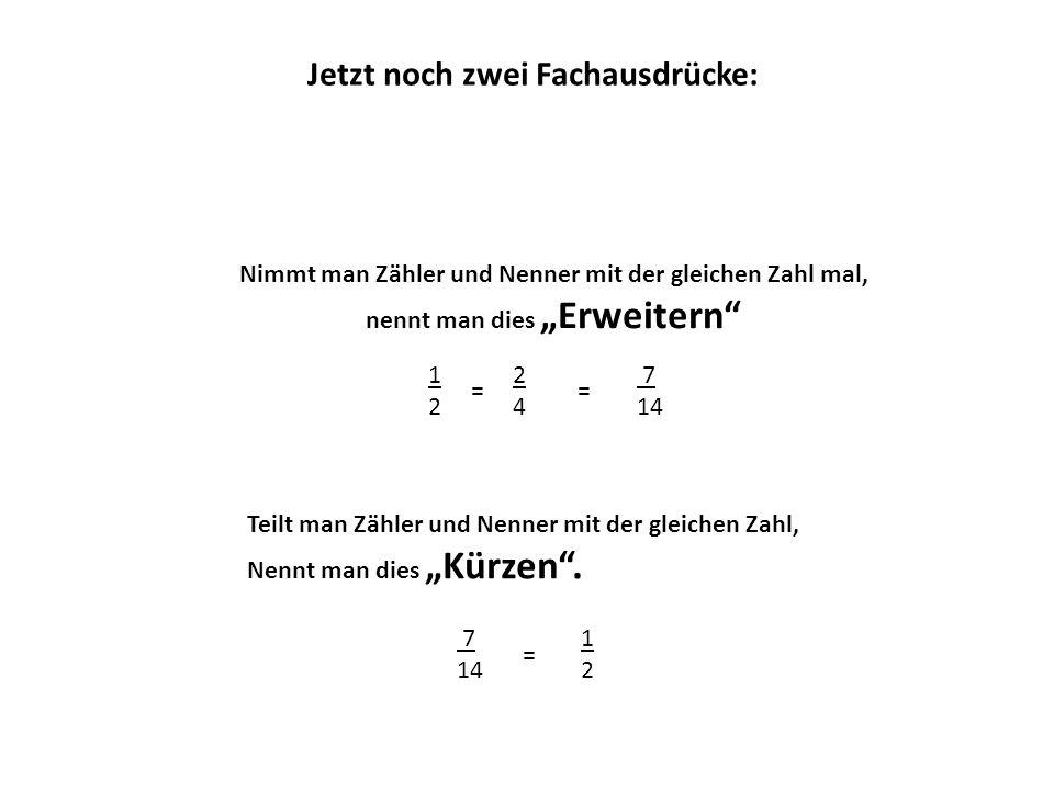 """Nimmt man Zähler und Nenner mit der gleichen Zahl mal, nennt man dies """"Erweitern 1212 Jetzt noch zwei Fachausdrücke: = 2424 = 7 14 7 14 = 1212 Teilt man Zähler und Nenner mit der gleichen Zahl, Nennt man dies """"Kürzen ."""