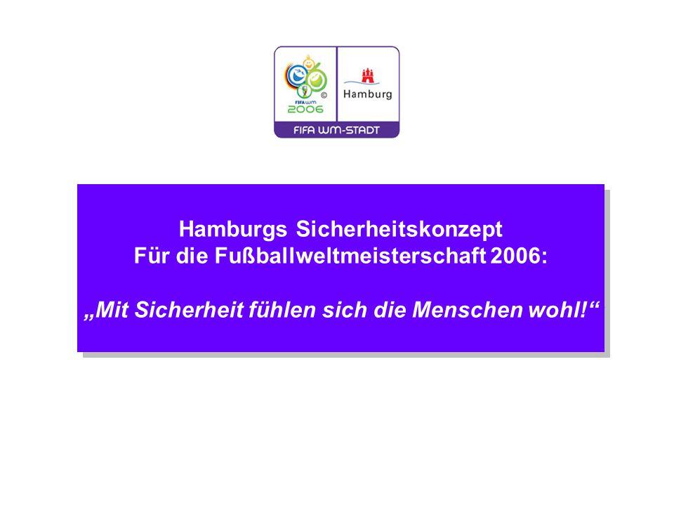 """Hamburgs Sicherheitskonzept Für die Fußballweltmeisterschaft 2006: """"Mit Sicherheit fühlen sich die Menschen wohl! Hamburgs Sicherheitskonzept Für die Fußballweltmeisterschaft 2006: """"Mit Sicherheit fühlen sich die Menschen wohl!"""