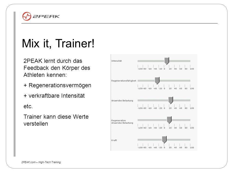 2PEAK.com – High-Tech Training Mix it, Trainer! 2PEAK lernt durch das Feedback den Körper des Athleten kennen: + Regenerationsvermögen + verkraftbare
