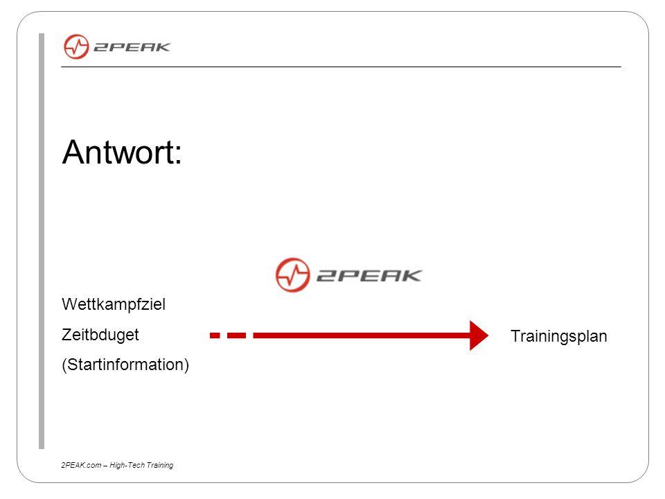 2PEAK.com – High-Tech Training Wettkampfziel Zeitbduget (Startinformation) Antwort: Trainingsplan