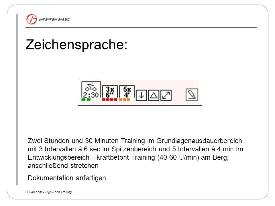 2PEAK.com – High-Tech Training Zeichensprache: Zwei Stunden und 30 Minuten Training im Grundlagenausdauerbereich mit 3 Intervallen á 6 sec im Spitzenb