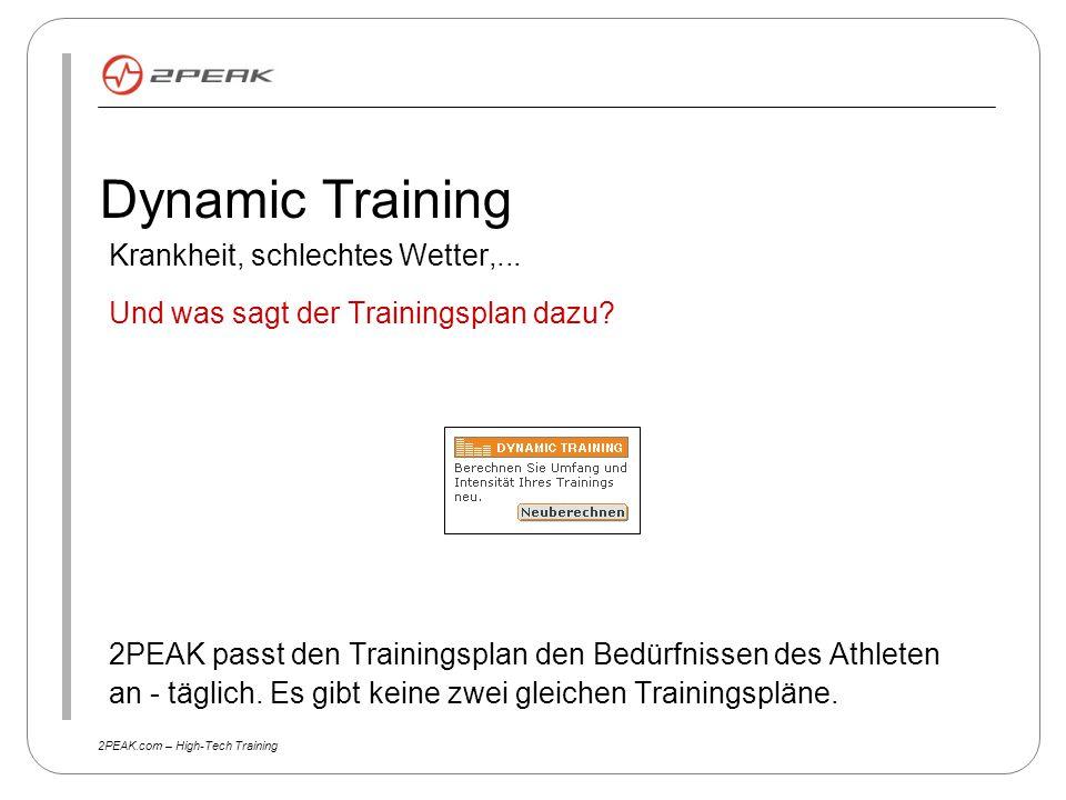 2PEAK.com – High-Tech Training Dynamic Training Krankheit, schlechtes Wetter,... Und was sagt der Trainingsplan dazu? 2PEAK passt den Trainingsplan de