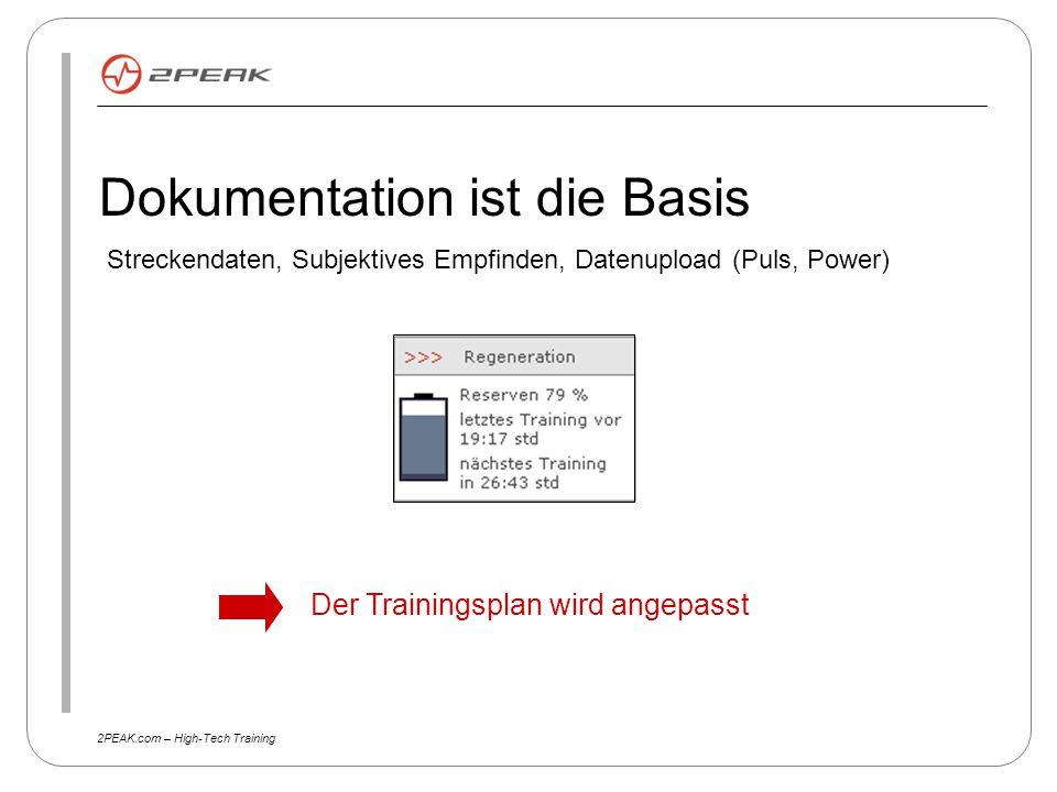2PEAK.com – High-Tech Training Dokumentation ist die Basis Streckendaten, Subjektives Empfinden, Datenupload (Puls, Power) Der Trainingsplan wird ange