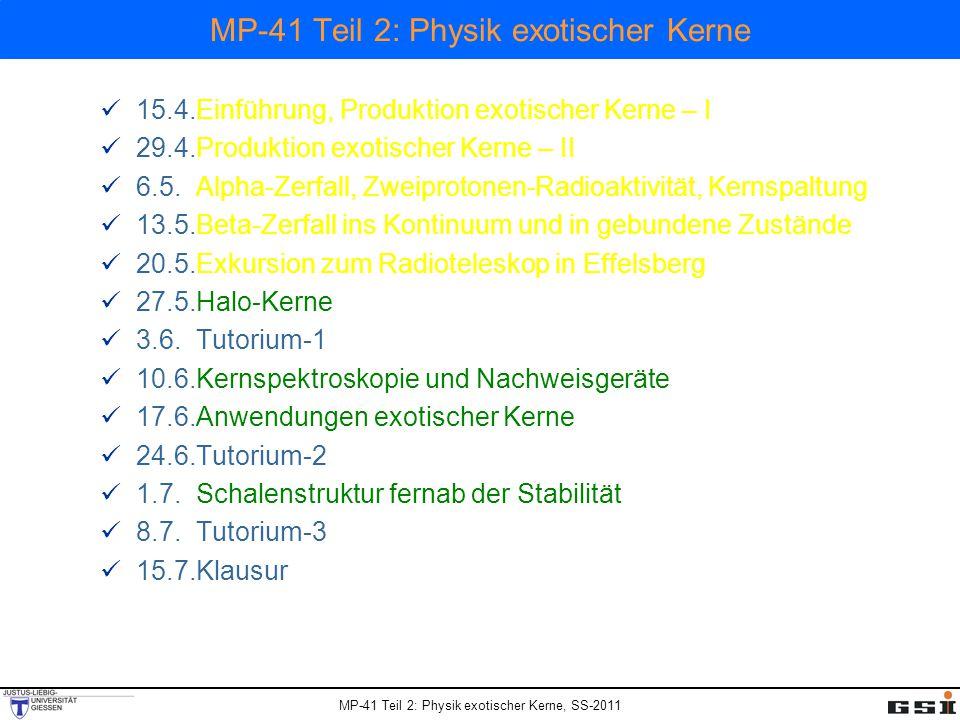 MP-41 Teil 2: Physik exotischer Kerne, SS-2011 MP-41 Teil 2: Physik exotischer Kerne 15.4.Einführung, Produktion exotischer Kerne – I 29.4.Produktion exotischer Kerne – II 6.5.Alpha-Zerfall, Zweiprotonen-Radioaktivität, Kernspaltung 13.5.Beta-Zerfall ins Kontinuum und in gebundene Zustände 20.5.Exkursion zum Radioteleskop in Effelsberg 27.5.Halo-Kerne 3.6.Tutorium-1 10.6.Kernspektroskopie und Nachweisgeräte 17.6.Anwendungen exotischer Kerne 24.6.Tutorium-2 1.7.Schalenstruktur fernab der Stabilität 8.7.Tutorium-3 15.7.Klausur