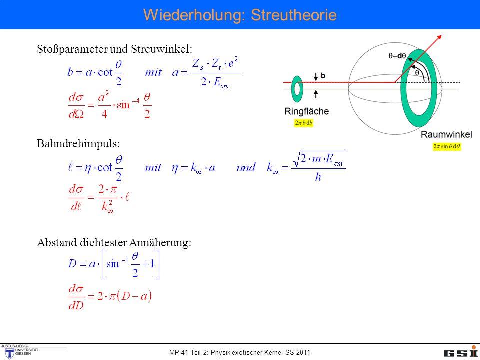 MP-41 Teil 2: Physik exotischer Kerne, SS-2011 Wiederholung: Streutheorie Stoßparameter und Streuwinkel: Bahndrehimpuls: Abstand dichtester Annäherung: