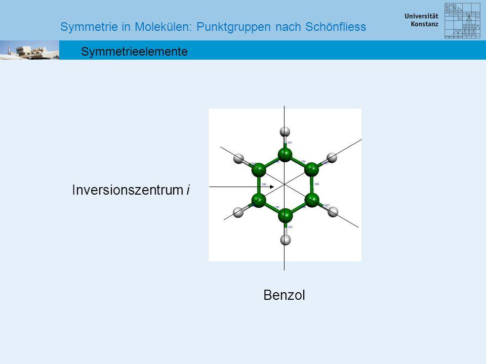 Symmetrie in Molekülen: Punktgruppen nach Schönfliess Symmetrieelemente Benzol Inversionszentrum i