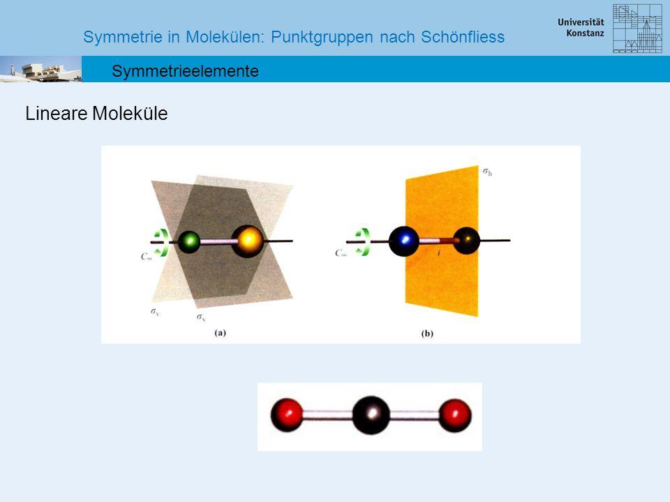 Symmetrie in Molekülen: Punktgruppen nach Schönfliess Symmetrieelemente Lineare Moleküle