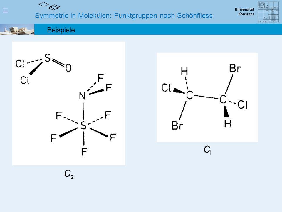 Symmetrie in Molekülen: Punktgruppen nach Schönfliess Beispiele <> <> <> CsCs CiCi