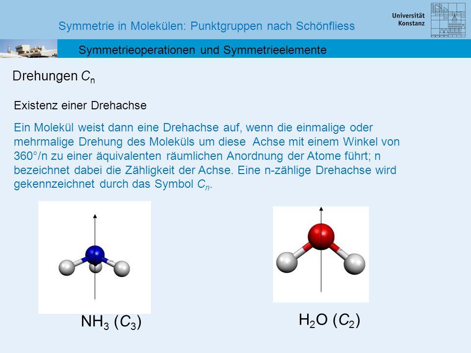 Symmetrie in Molekülen: Punktgruppen nach Schönfliess Symmetrieoperationen und Symmetrieelemente Drehungen C n Existenz einer Drehachse Ein Molekül we