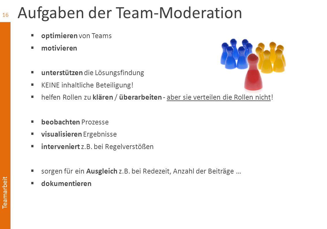 Teamarbeit Aufgaben der Team-Moderation  optimieren von Teams  motivieren  unterstützen die Lösungsfindung  KEINE inhaltliche Beteiligung!  helfe