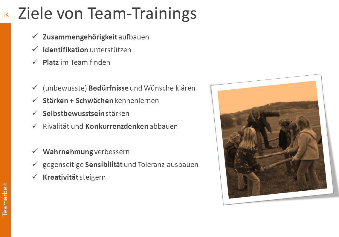 Teamarbeit Ziele von Team-Trainings Zusammengehörigkeit aufbauen Identifikation unterstützen Platz im Team finden (unbewusste) Bedürfnisse und Wünsche