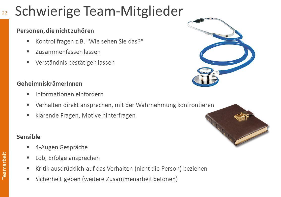 Teamarbeit Schwierige Team-Mitglieder Personen, die nicht zuhören  Kontrollfragen z.B.