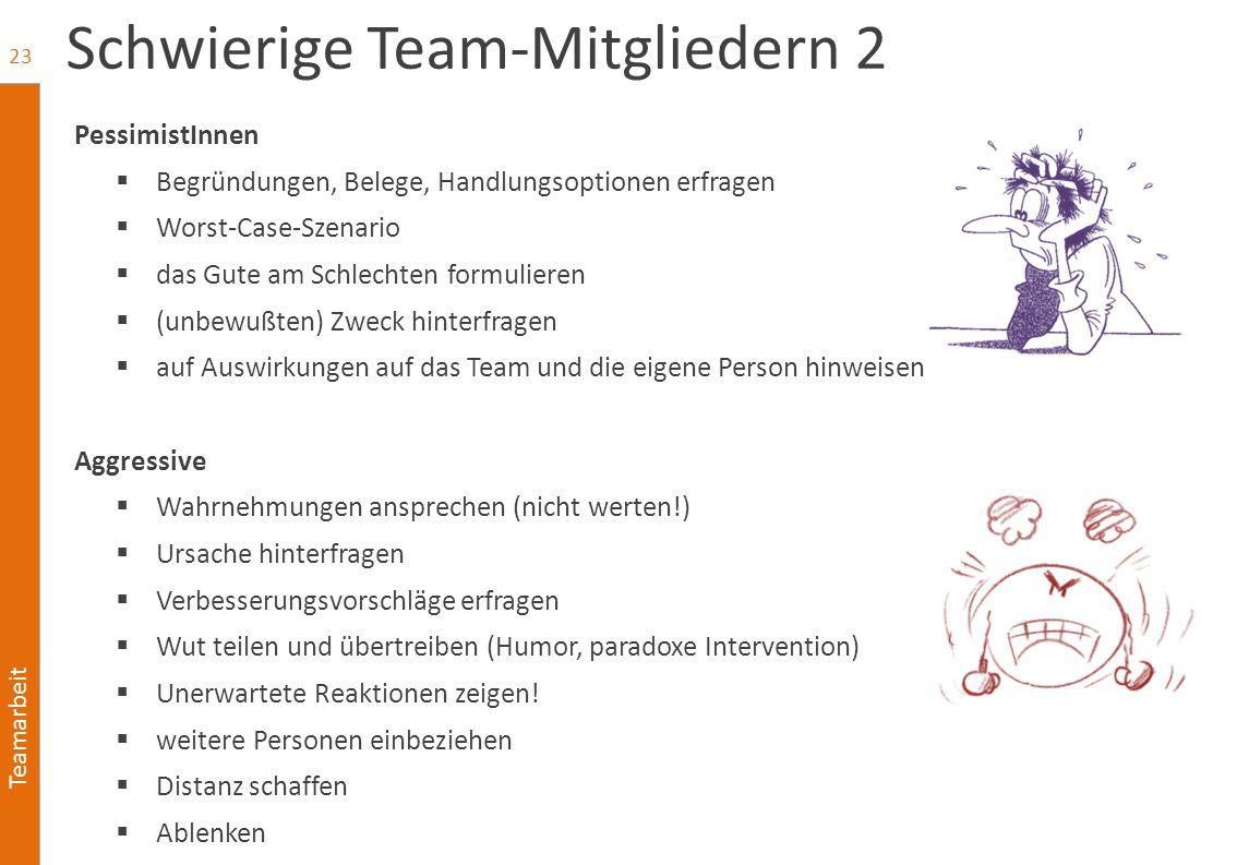 Teamarbeit Schwierige Team-Mitgliedern 2 PessimistInnen  Begründungen, Belege, Handlungsoptionen erfragen  Worst-Case-Szenario  das Gute am Schlech
