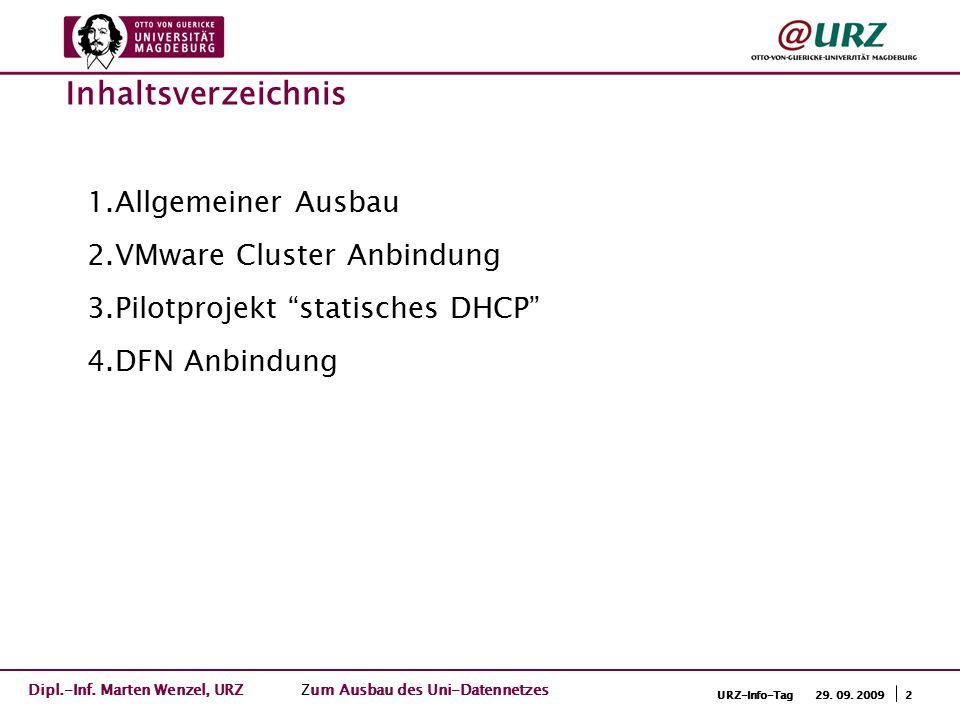 """2URZ-Info-Tag 29. 09. 2009 1.Allgemeiner Ausbau 2.VMware Cluster Anbindung 3.Pilotprojekt """"statisches DHCP"""" 4.DFN Anbindung Inhaltsverzeichnis Dipl.-I"""