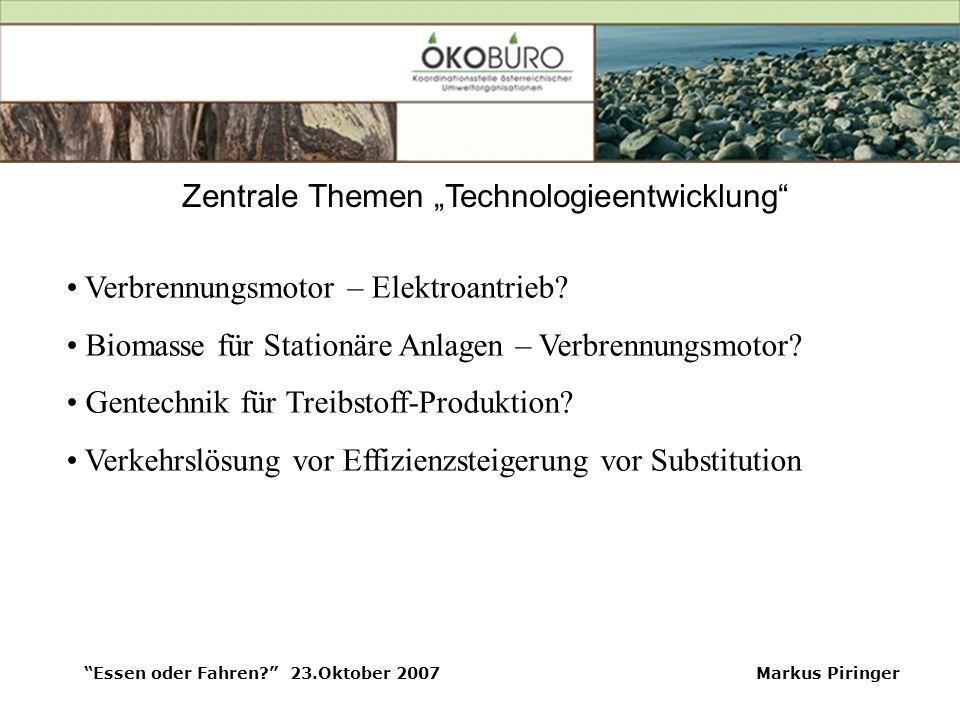 """Essen oder Fahren? 23.Oktober 2007Markus Piringer Zentrale Themen """"Technologieentwicklung Verbrennungsmotor – Elektroantrieb."""