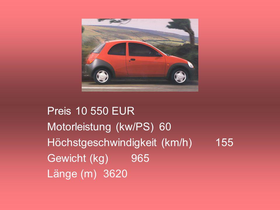 Preis10 550 EUR Motorleistung (kw/PS)60 Höchstgeschwindigkeit (km/h)155 Gewicht (kg)965 Länge (m)3620