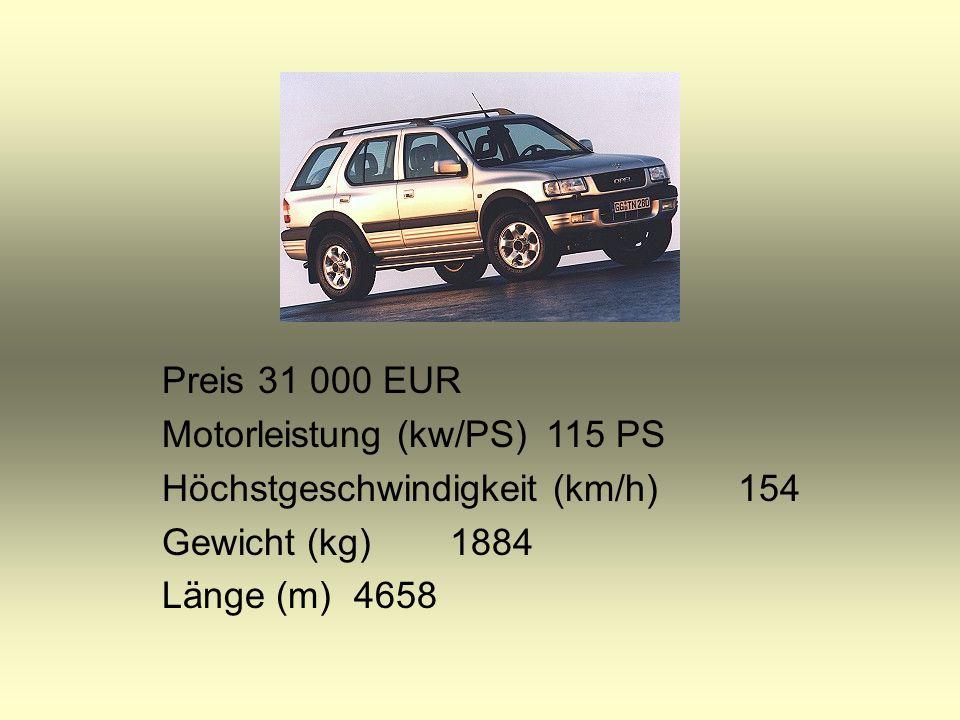 Preis34 100 EUR Motorleistung (kw/PS)180 Höchstgeschwindigkeit (km/h)222 Gewicht (kg)1720 Länge (m)4544
