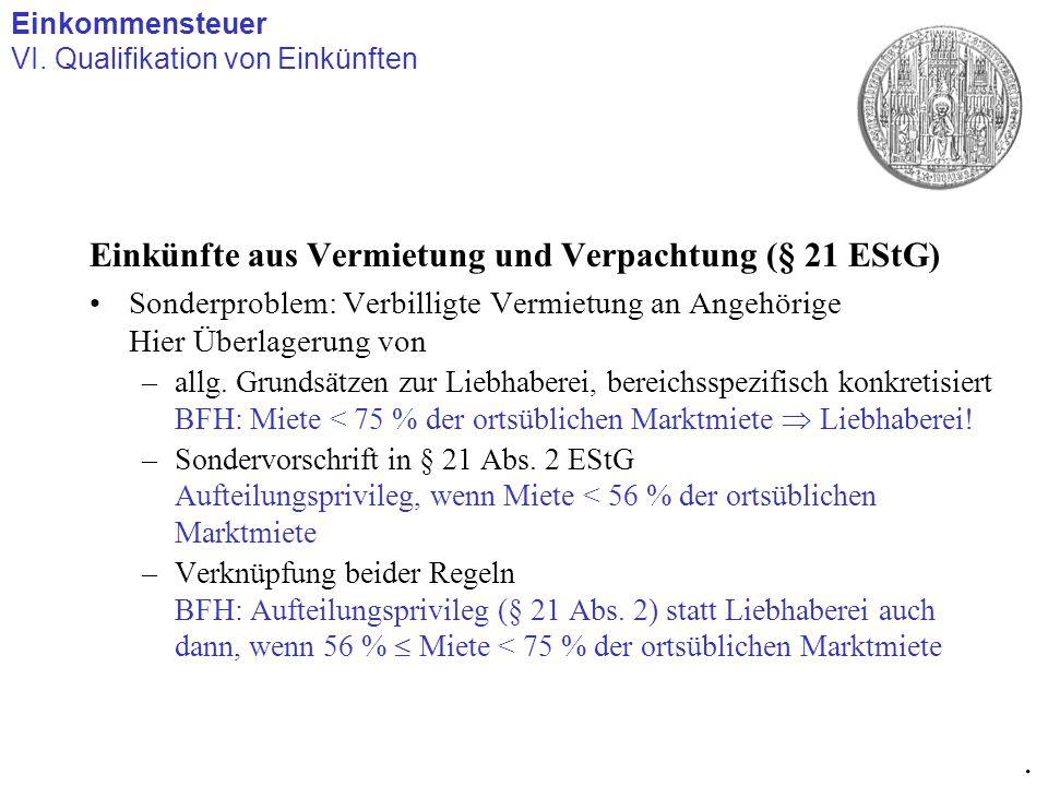 Einkünfte aus Vermietung und Verpachtung (§ 21 EStG) Sonderproblem: Verbilligte Vermietung an Angehörige Hier Überlagerung von –allg. Grundsätzen zur