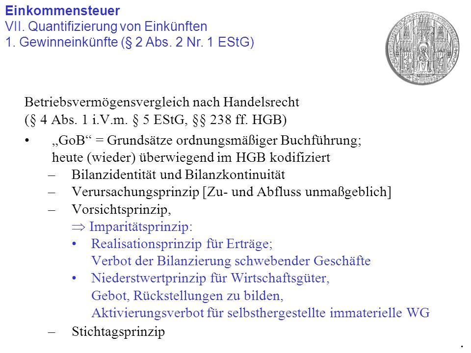 "Betriebsvermögensvergleich nach Handelsrecht (§ 4 Abs. 1 i.V.m. § 5 EStG, §§ 238 ff. HGB) ""GoB"" = Grundsätze ordnungsmäßiger Buchführung; heute (wiede"