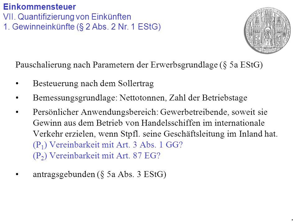 Pauschalierung nach Parametern der Erwerbsgrundlage (§ 5a EStG) Besteuerung nach dem Sollertrag Bemessungsgrundlage: Nettotonnen, Zahl der Betriebstag