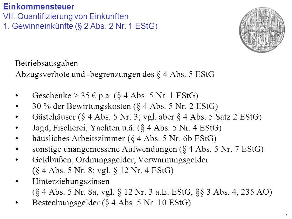 Einkommensteuer VII. Quantifizierung von Einkünften 1. Gewinneinkünfte (§ 2 Abs. 2 Nr. 1 EStG). Betriebsausgaben Abzugsverbote und -begrenzungen des §