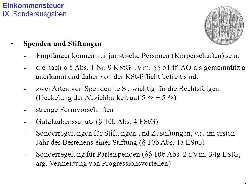 Einkommensteuer IX. Sonderausgaben. Spenden und Stiftungen -Empfänger können nur juristische Personen (Körperschaften) sein, -die nach § 5 Abs. 1 Nr.