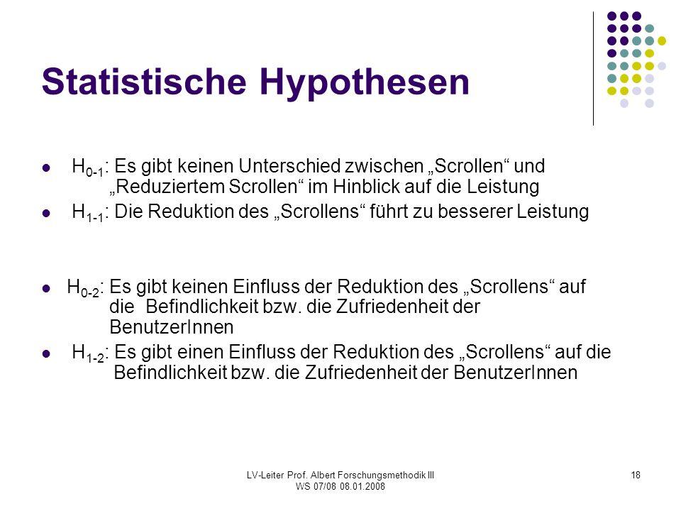"""LV-Leiter Prof. Albert Forschungsmethodik III WS 07/08 08.01.2008 18 Statistische Hypothesen H 0-1 : Es gibt keinen Unterschied zwischen """"Scrollen"""" un"""