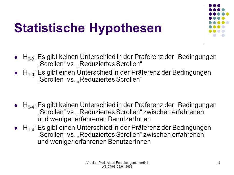 LV-Leiter Prof. Albert Forschungsmethodik III WS 07/08 08.01.2008 19 Statistische Hypothesen H 0-3 : Es gibt keinen Unterschied in der Präferenz der B