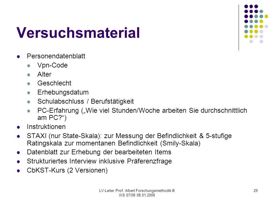 LV-Leiter Prof. Albert Forschungsmethodik III WS 07/08 08.01.2008 29 Versuchsmaterial Personendatenblatt Vpn-Code Alter Geschlecht Erhebungsdatum Schu
