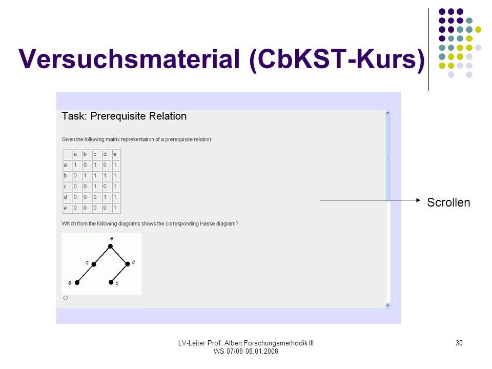 LV-Leiter Prof. Albert Forschungsmethodik III WS 07/08 08.01.2008 30 Versuchsmaterial (CbKST-Kurs) Scrollen