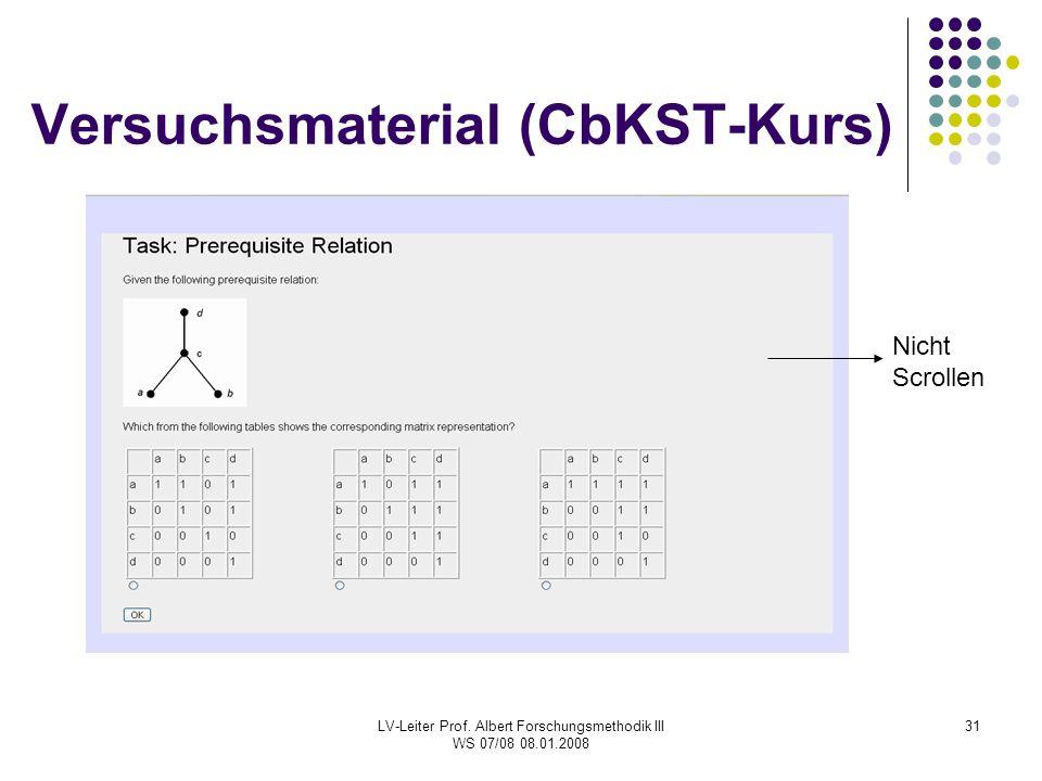 LV-Leiter Prof. Albert Forschungsmethodik III WS 07/08 08.01.2008 31 Versuchsmaterial (CbKST-Kurs) Nicht Scrollen