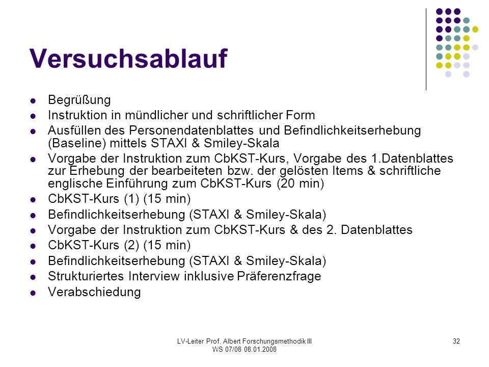 LV-Leiter Prof. Albert Forschungsmethodik III WS 07/08 08.01.2008 32 Versuchsablauf Begrüßung Instruktion in mündlicher und schriftlicher Form Ausfüll