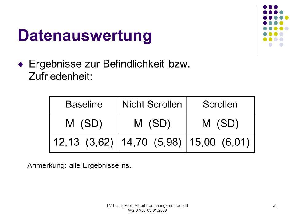 LV-Leiter Prof. Albert Forschungsmethodik III WS 07/08 08.01.2008 38 Datenauswertung Ergebnisse zur Befindlichkeit bzw. Zufriedenheit: BaselineNicht S