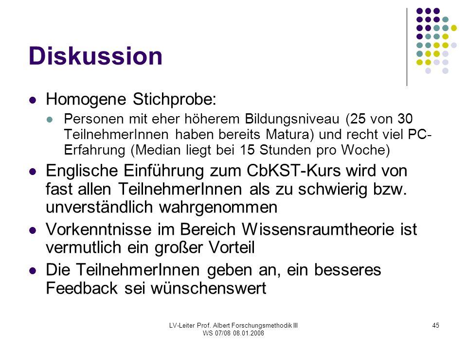 LV-Leiter Prof. Albert Forschungsmethodik III WS 07/08 08.01.2008 45 Diskussion Homogene Stichprobe: Personen mit eher höherem Bildungsniveau (25 von