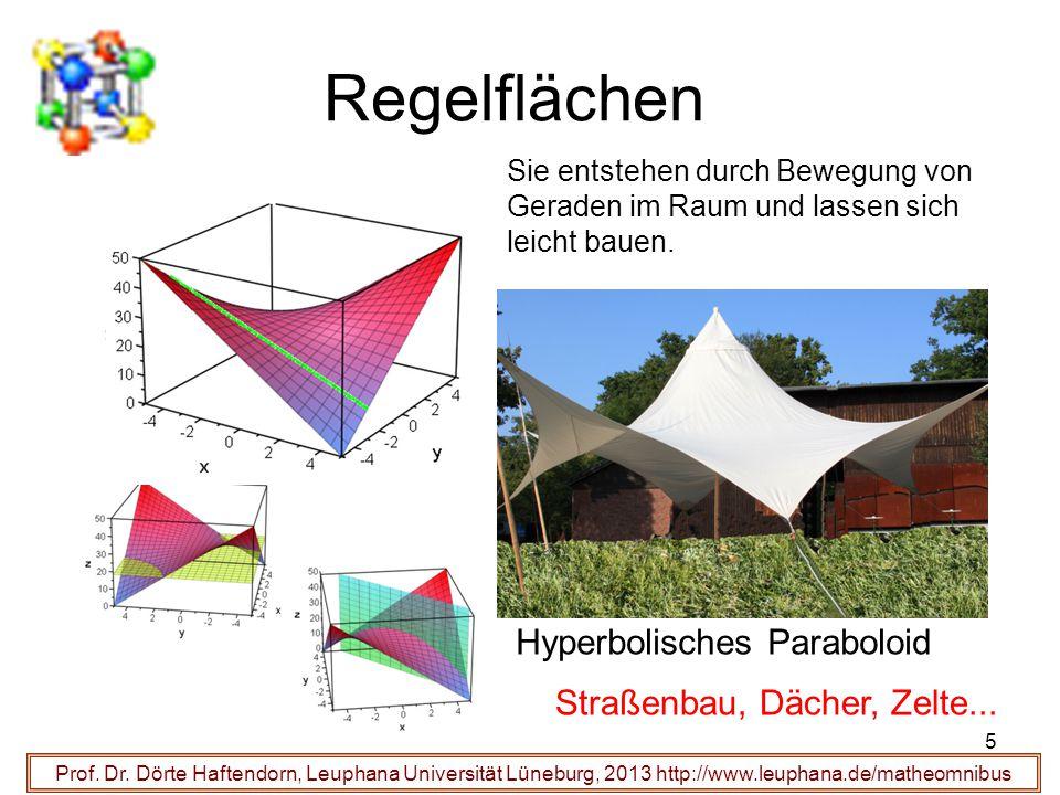 Regelflächen Hyperbolisches Paraboloid Straßenbau, Dächer, Zelte... 5 Prof. Dr. Dörte Haftendorn, Leuphana Universität Lüneburg, 2013 http://www.leuph