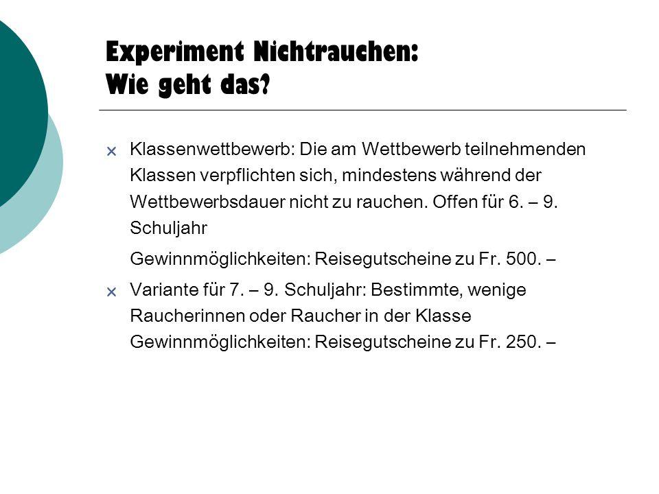 Experiment Nichtrauchen: Wie geht das.