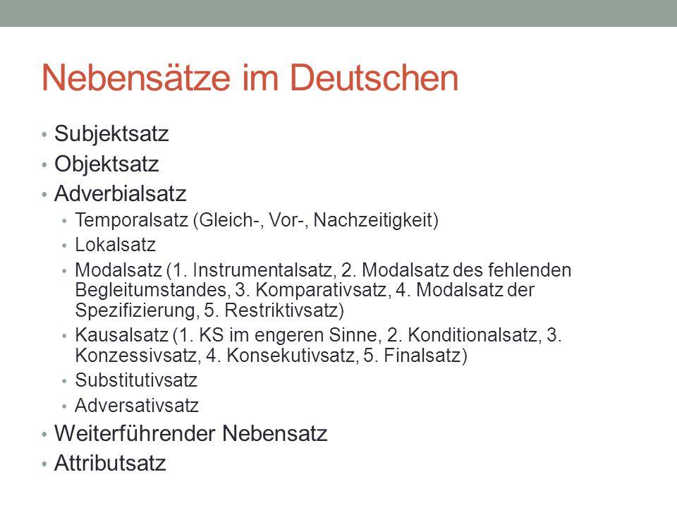 Nebensätze im Deutschen Subjektsatz Objektsatz Adverbialsatz Temporalsatz (Gleich-, Vor-, Nachzeitigkeit) Lokalsatz Modalsatz (1. Instrumentalsatz, 2.