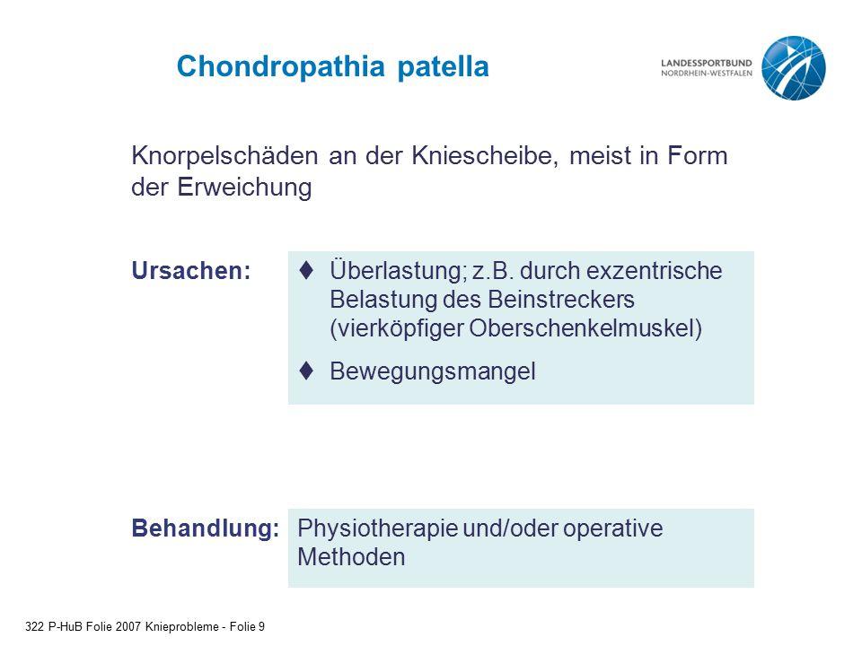 Chondropathia patella 322 P-HuB Folie 2007 Knieprobleme - Folie 9 Behandlung:  Überlastung; z.B. durch exzentrische Belastung des Beinstreckers (vier