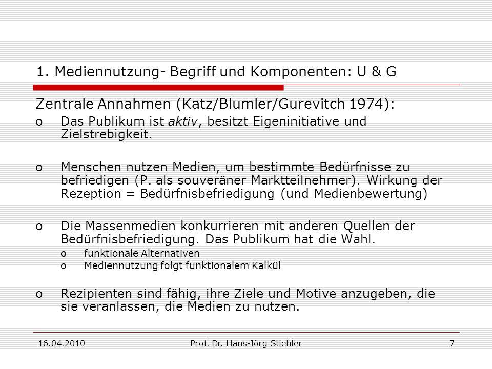 16.04.2010Prof. Dr. Hans-Jörg Stiehler8 1. Mediennutzung- Begriff und Komponenten: U & G