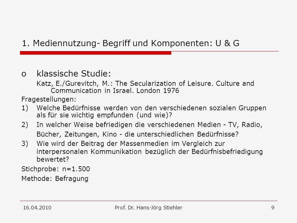 16.04.2010Prof.Dr. Hans-Jörg Stiehler20 Übungsfragen 1.