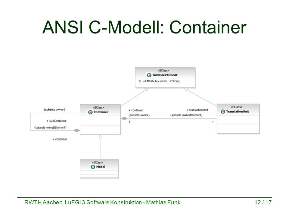 RWTH Aachen, LuFGI 3 Software Konstruktion - Mathias Funk12 / 17 ANSI C-Modell: Container