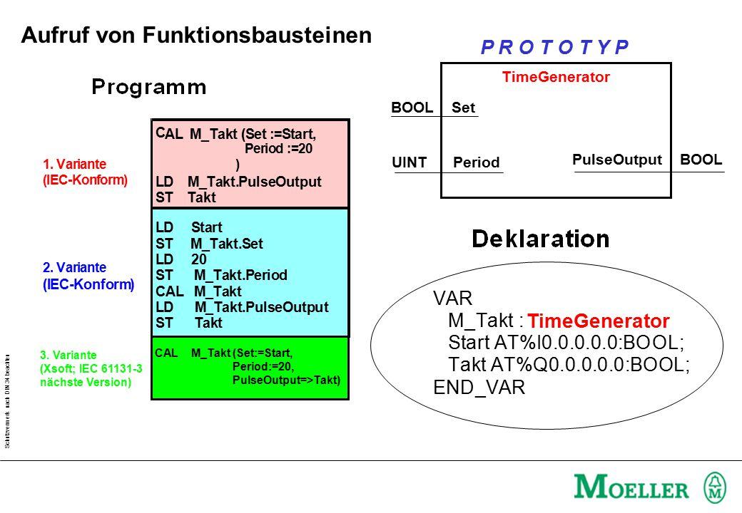 Schutzvermerk nach DIN 34 beachten 1. Variante (IEC-Konform) 2. Variante (IEC-Konform) C AL M_Takt (Set :=Start, Period :=20 ) LD M_Takt.PulseOutput S