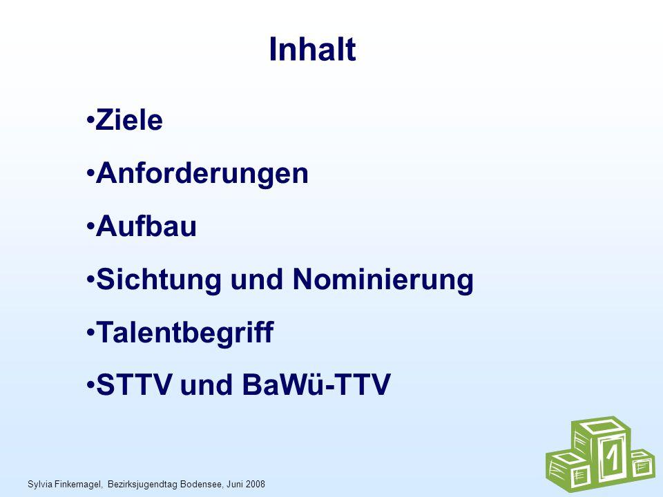 Sylvia Finkernagel, Bezirksjugendtag Bodensee, Juni 2008 Ziele Anforderungen Aufbau Sichtung und Nominierung Talentbegriff STTV und BaWü-TTV Inhalt