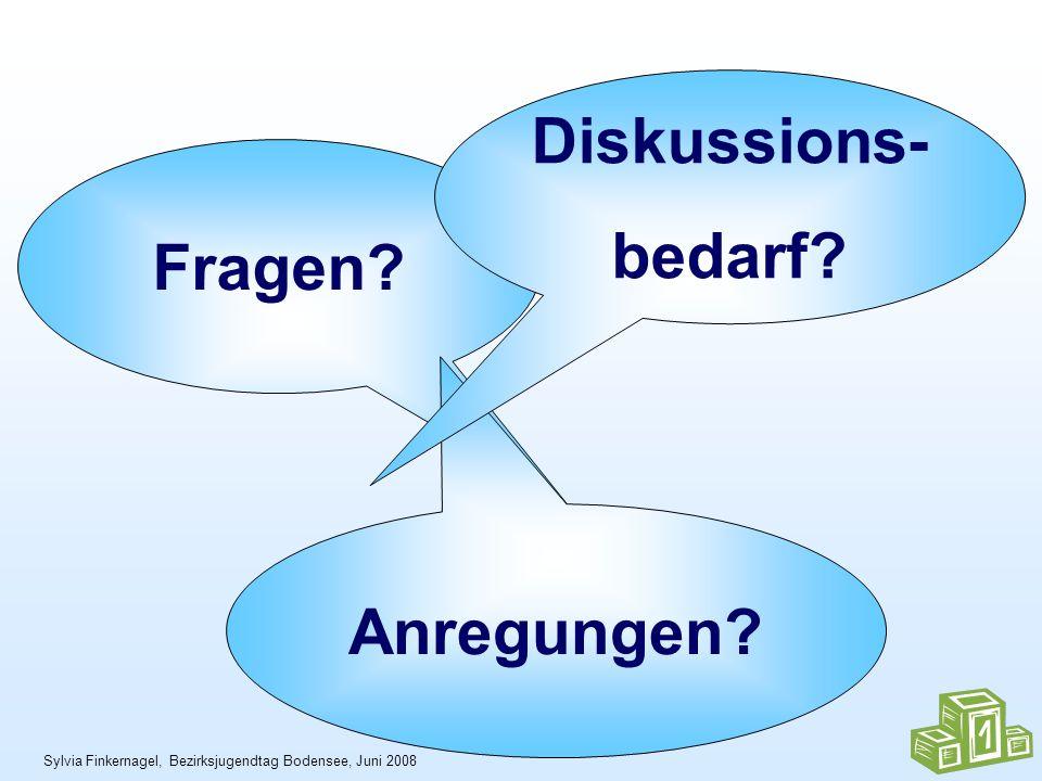 Sylvia Finkernagel, Bezirksjugendtag Bodensee, Juni 2008 Fragen Anregungen Diskussions- bedarf