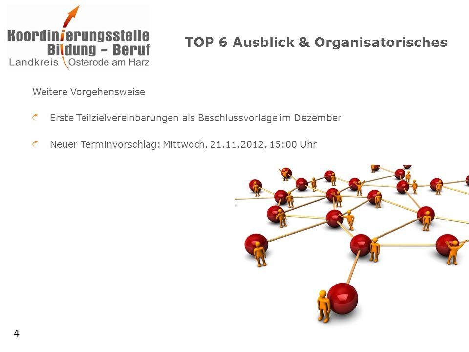TOP 6 Ausblick & Organisatorisches Weitere Vorgehensweise Erste Teilzielvereinbarungen als Beschlussvorlage im Dezember Neuer Terminvorschlag: Mittwoch, 21.11.2012, 15:00 Uhr 4